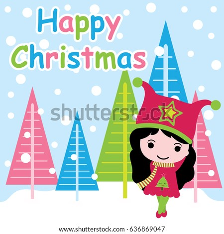 Cute Girl Is Happy On Colorful Xmas Tree Background Vector Cartoon Postcard Wallpaper