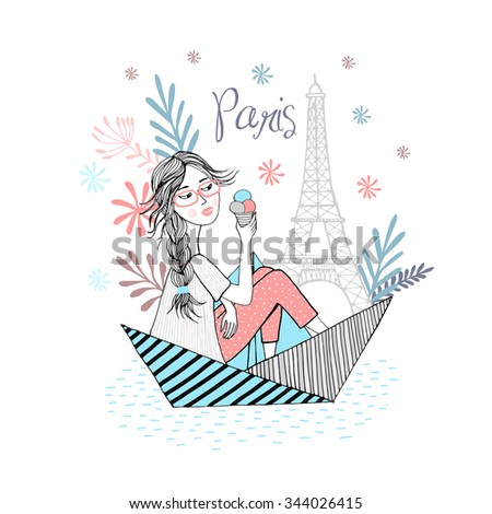 Cute girl is traveling in the boat in Paris. - stock vector