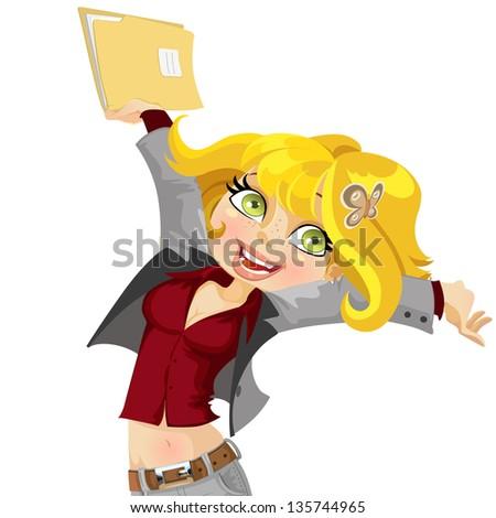 Cute girl  joyfully swings the folder with papers - stock vector