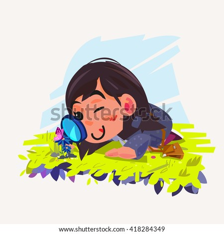 cute girl looking through a magnifying glass at butterfly on flower - vector illustration - stock vector
