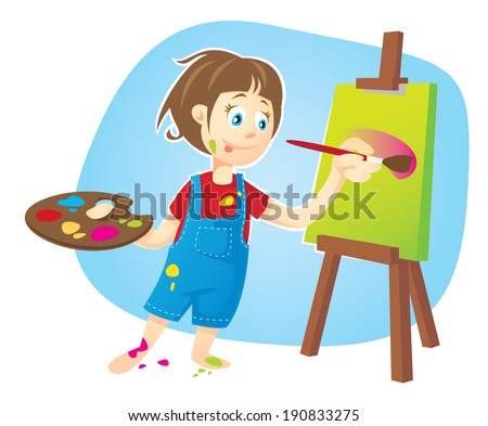 Cute Girl Painting - stock vector