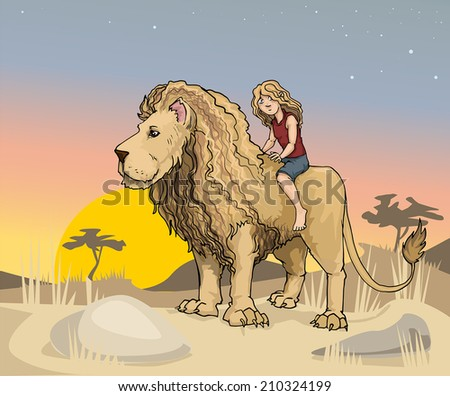 Cute girl riding a huge Lion king, in a African landscape vector illustration - stock vector