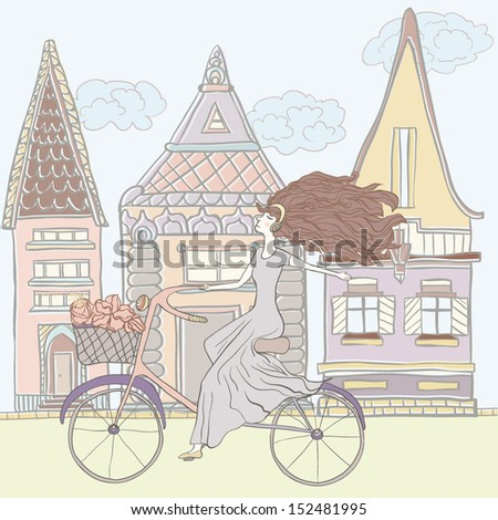 Cute girl riding bike in a beautiful vintage city hand drawn in vector  - stock vector