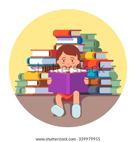 Cute girl sitting and reading a book in front of big pile of literature. Future genius kid concept. Flat style vector illustration isolated on white background. - stock vector
