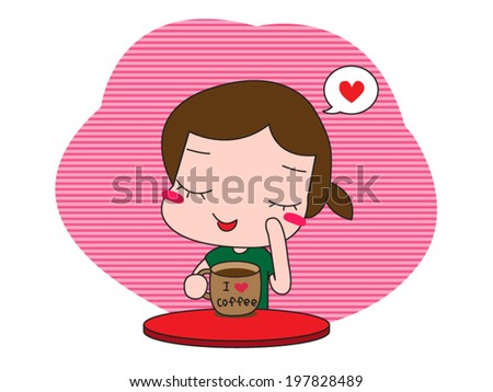 Cute girl sitting at the table drinking coffee - stock vector