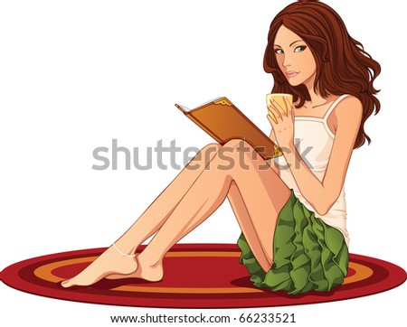 Cute girl sitting on a carpet and reading a book - stock vector