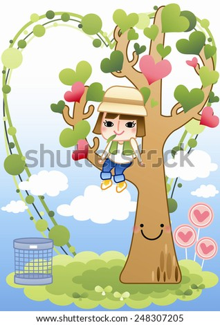 Cute Girl sitting on tree with heart on a background with bright blue sky : vector illustration - stock vector