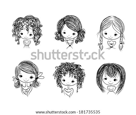 Cute girl smiling, sketch for your design - stock vector