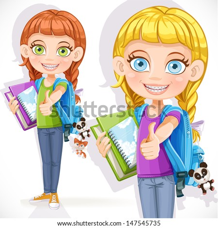 Cute girl student with a backpack and textbook - stock vector