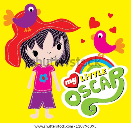 cute girl / T-shirt graphics / cute cartoon characters / cute graphics for kids / Book illustrations - stock vector