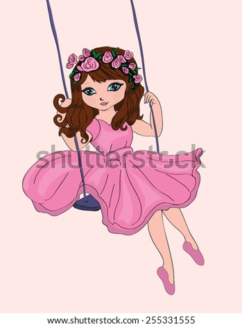 cute girl / T-shirt Graphics / Swing and girl illustration / cute girl illustration for children /flower girl - stock vector