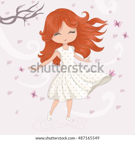 cute girl/T-shirt print/princess girl/Book illustrations for children/Romantic hand drawing poster/cartoon character
