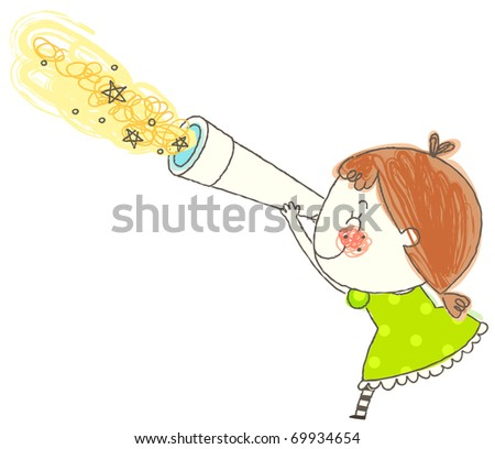 cute girl watchiing star - stock vector