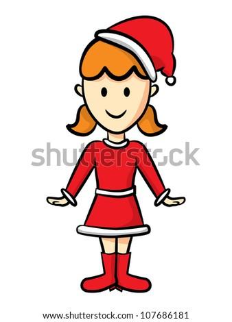 cute girl wearing santa costume - stock vector