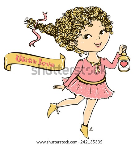 Cute girl with a flashlight and heart.Space for text. Greeting signature. Vector illustration.  - stock vector