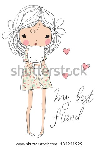 cute girl with cat - stock vector