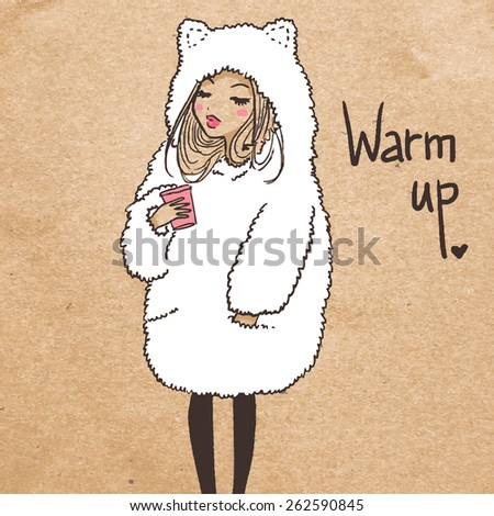 Cute girl with coffee - stock vector
