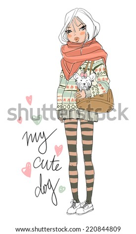 cute girl with dog  - stock vector