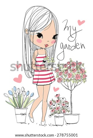 Cute girl with flowers. - stock vector