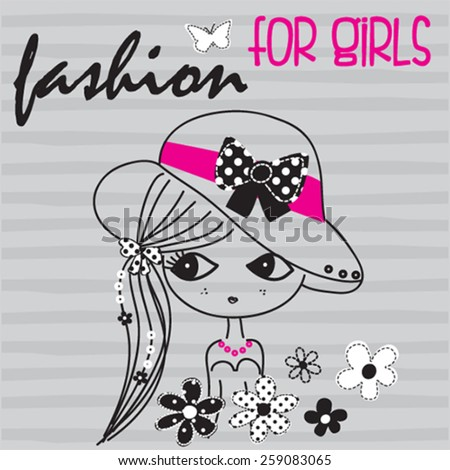 cute girl with flowers on striped background, T-shirt design vector illustration - stock vector