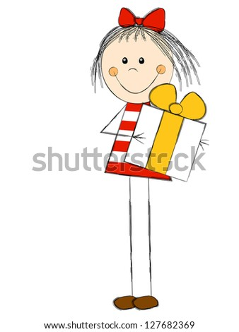 Cute girl with gift box - stock vector