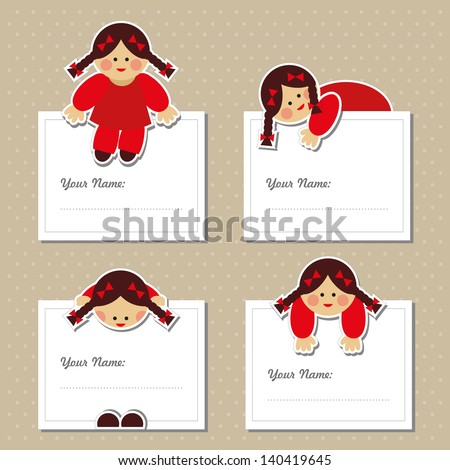 Cute girl with name labels and stickers. Vector set. - stock vector