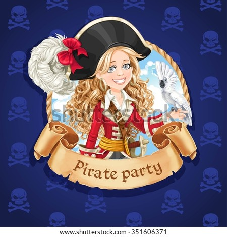 Cute girl with parrot. Banner for Pirate party
