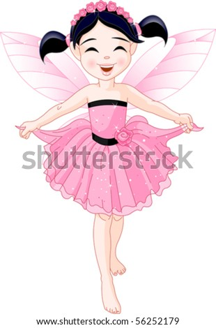 Cute girl with pink dress and artificial wings - stock vector