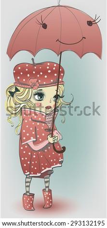 cute girl with umbrella - stock vector