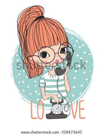 Cute girl with vintage phone - stock vector