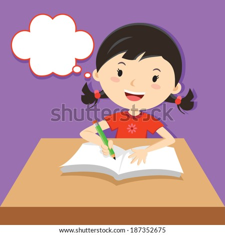 Cute girl writing at her desk. Vector illustration of a little girl writing and thinking. - stock vector