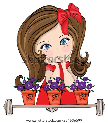cute girls graphic / Illustration of a Cute Girl Dressed as a Princess  / cute baby kid / cute girl illustration / romantic girl waiting at the window / T-shirt Graphics / book illustration - stock vector