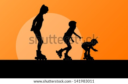 Cute girls in roller skates with mother vector background family concept - stock vector