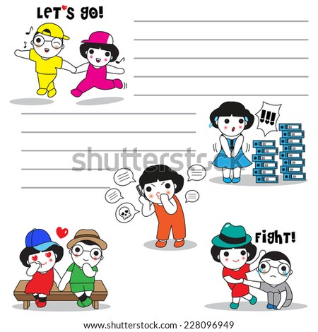 Cute girls's daily life expressions paper note - stock vector
