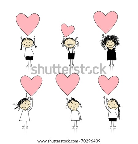 Cute girls with valentine hearts for your design - stock vector