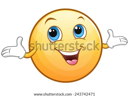 Cute, glossy, cheerful smiley. - stock vector