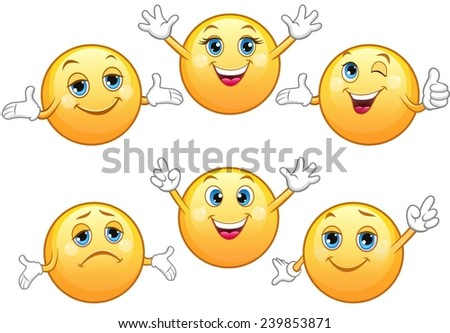 Cute glossy emoticons with various moods. - stock vector