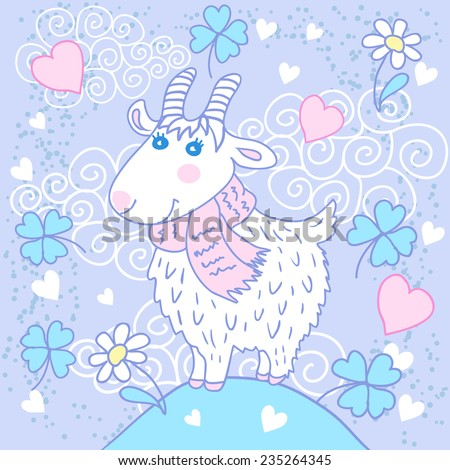 Cute goat on a meadow. Greeting card with hearts, clover and flowers - stock vector