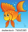 Cute goldfish in water - vector illustration. - stock vector