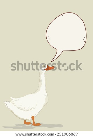 Cute goose with speech bubble - stock vector