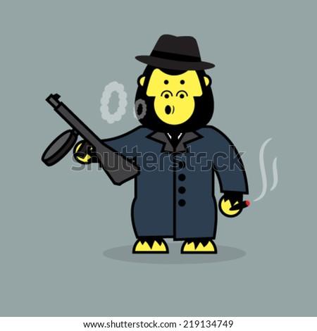 Cute gorilla mobster. - stock vector