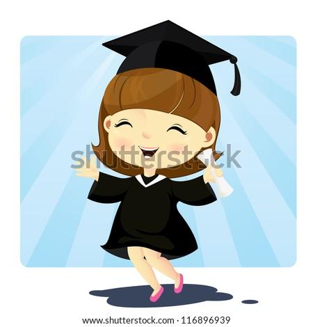 Cute graduation girl - stock vector