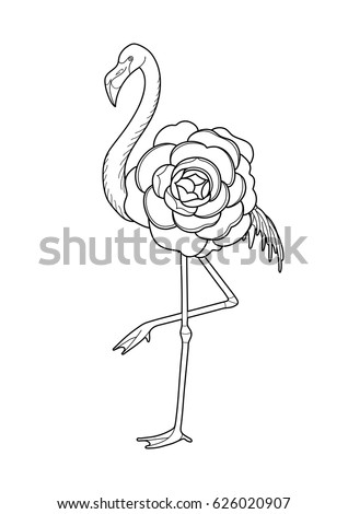 Cute Graphic Flamingo In The Side View With Big Camellia Flower Over Its Body Pretty