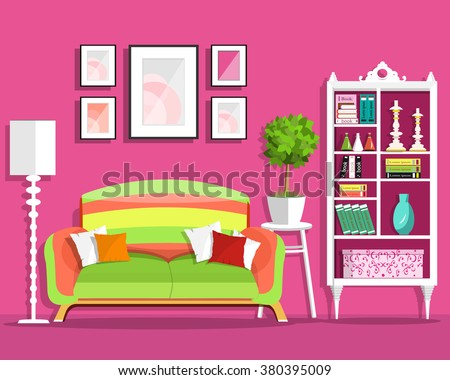 Cute graphic living room interior design with furniture: sofa, flowerpot, bookcase, lamp. Flat style vector illustration  - stock vector