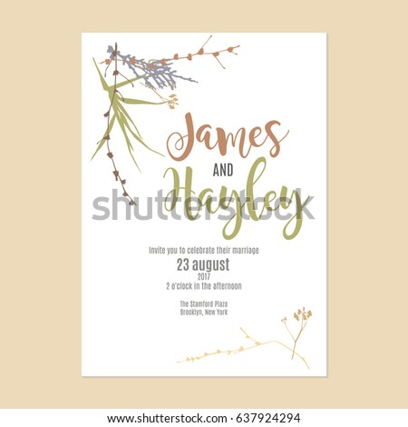 Cute grass plants text wedding invitation stock photo photo vector cute grass and plants with text wedding invitation card template vector stopboris Gallery