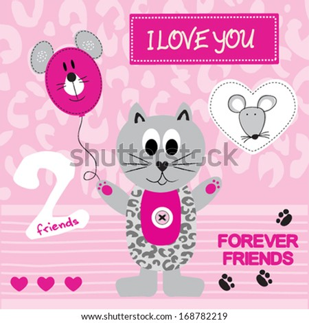 cute gray cat and mouse invitation card background vector illustration - stock vector