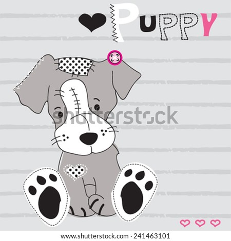 cute gray dog striped background vector illustration - stock vector