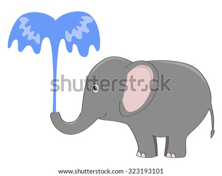 cute gray elephant pouring itself with a fountain of water - stock vector