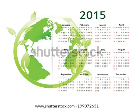 Cute green and ecology calendar on 2015 year