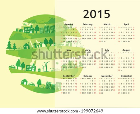 Cute green and ecology calendar on 2015 year - stock vector